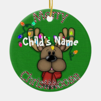 Merry Christmas Moose Ceramic Ornament