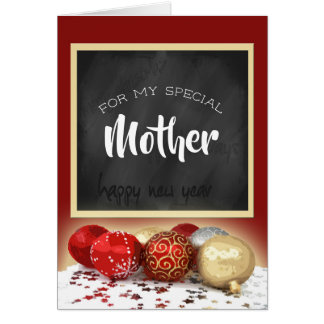 Merry Christmas Mother Chalkboard and Ornaments Card
