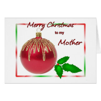 Merry Christmas Mother Red and Gold Ball with Holl Card