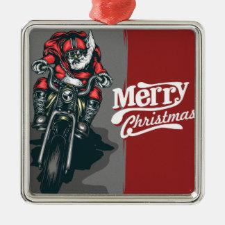 Merry Christmas Motorcycle Santa Ornament