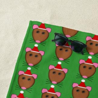 Merry Christmas Mouse Beach Towel