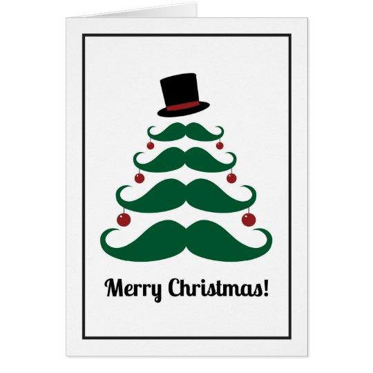Merry Christmas Moustache Tree Holiday Card