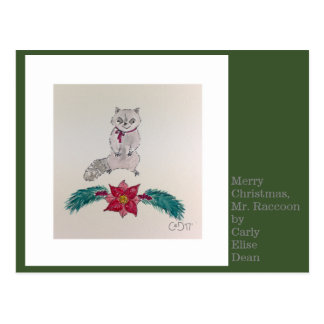 Merry Christmas, Mr. Raccoon Postcard