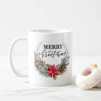 """""""Merry Christmas"""" mug with wreath"""