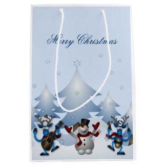 Merry Christmas - Musical Reindeer and Snowmen Medium Gift Bag