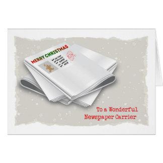 Merry Christmas, Newspaper Carrier Card