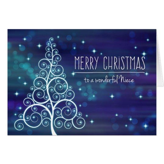 Merry Christmas Niece, Bokeh Effect & Tree Card