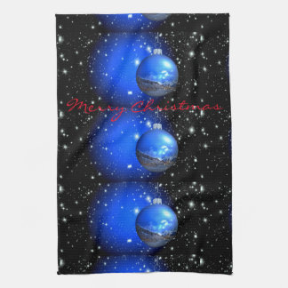 merry christmas night sky ornaments kitchen towel
