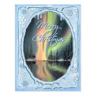 MERRY CHRISTMAS NORTHERN LIGHTS by SHARON SHARPE Postcard