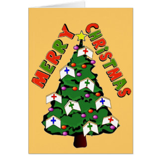 Merry Christmas Nurse Cap Tree Greeting Card