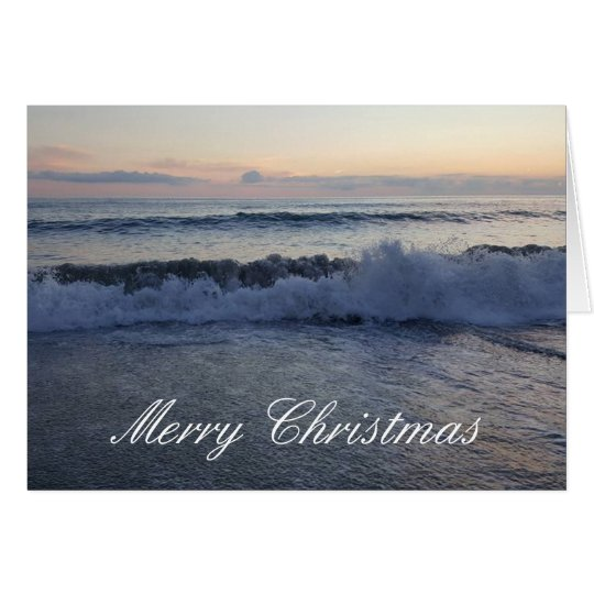 Merry Christmas Ocean Sunset Card