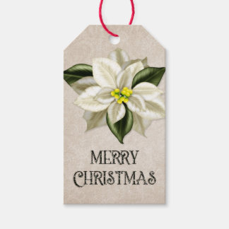Merry Christmas | Off White Poinsettia Gift Tags