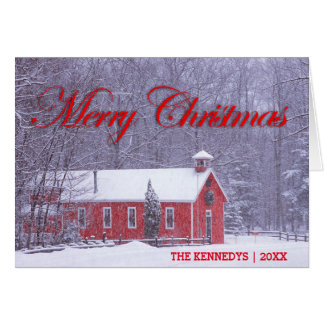 Merry Christmas - Old red schoolhouse in snowfall Card
