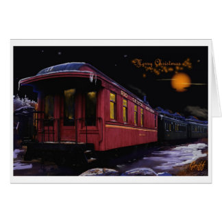 Merry Christmas Old time Train in the Snow Card