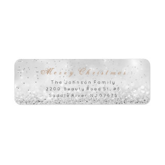 Merry Christmas Ombre Silver Ivory Shiny Pastel