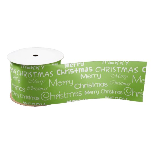 Merry Christmas on a green background Satin Ribbon