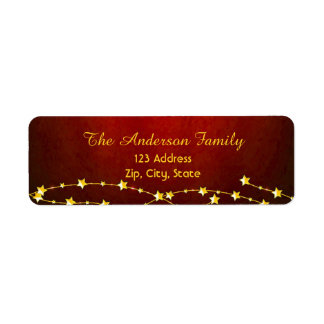 Merry Christmas on classic dark red with stars Return Address Label