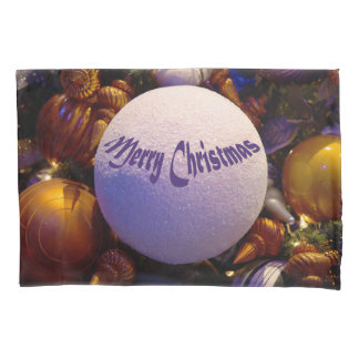 Merry Christmas (orange and purple) - pillow case