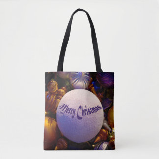 Merry Christmas (orange and purple) - tote bags