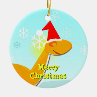 Merry Christmas Orange Cartoon Dinosaur Ornament