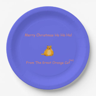MERRY CHRISTMAS ORANGE CAT PLATE FOR EVERYONE!