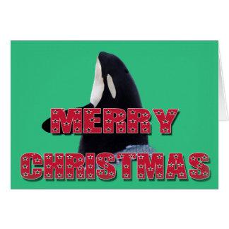 Merry Christmas Orca Whale Spy Hop Christmas Gifts Card