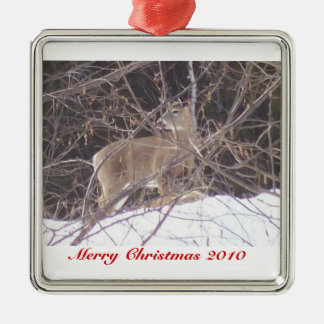 Merry Christmas Silver-Colored Square Ornament