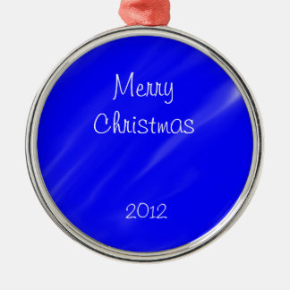Merry Christmas Ornament (Blue and White)
