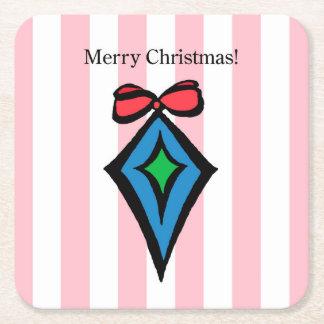 Merry Christmas Ornament Custom Square Coaster