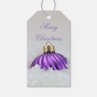 Merry Christmas Ornament in Purple Pack Of Gift Tags