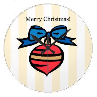 Merry Christmas Ornament LG Round Wall Clock Yel