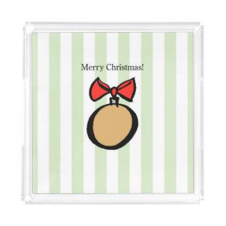 Merry Christmas Ornament Medium Perfume Tray Green
