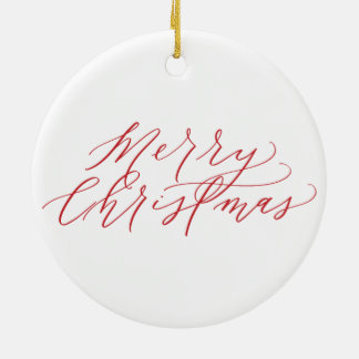 Merry Christmas Ornament - red calligraphy
