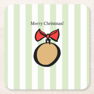 Merry Christmas Ornament Square Coaster Green
