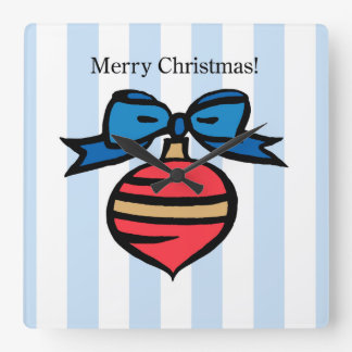 Merry Christmas Ornament Square Wall Clock Blue