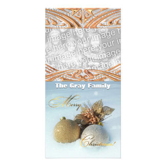 Merry Christmas Ornaments in Snow Custom Photo Card
