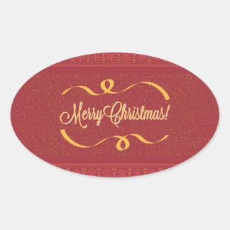 Merry Christmas Oval Sticker