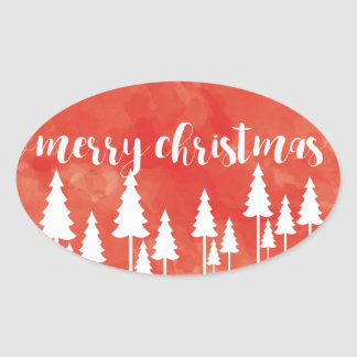 Merry Christmas Oval Sticker Template