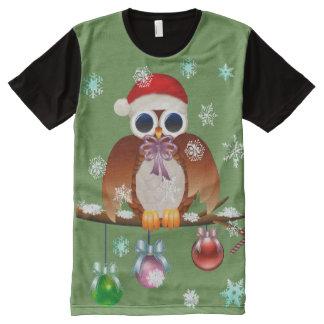 Merry Christmas Owl All-Over-Print T-Shirt