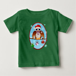 Merry Christmas Owl Oval Baby T-Shirt