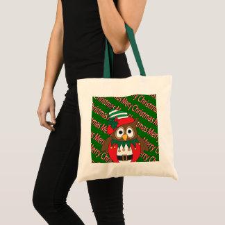 Merry Christmas Owl Tote Bag