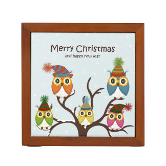 Merry Christmas Owls on the Tree Pencil Holder