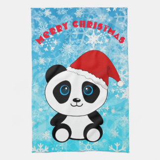Merry Christmas Panda Bear Kitchen Towel