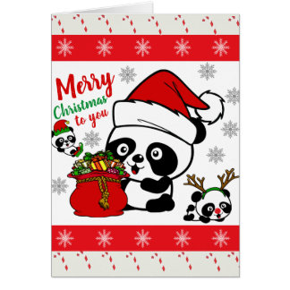 Merry Christmas Pandas (Personalize Messages) Card