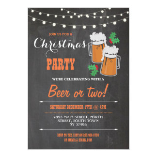 Merry Christmas Party Beers Mistletoe Xmas Invite
