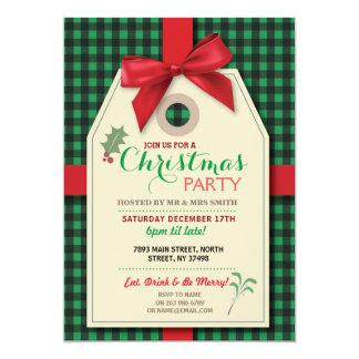 Merry Christmas Party Tag Bow Tag Xmas Invite