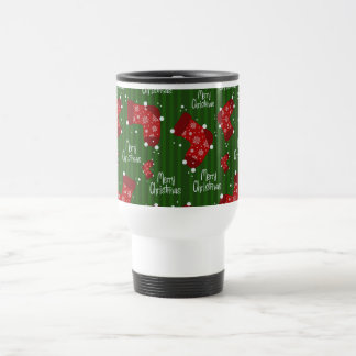 Merry Christmas Pattern Red White And Green Travel Mug