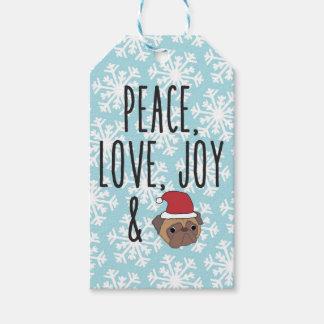 Merry Christmas Peace, Love, Joy and Pugs Tags