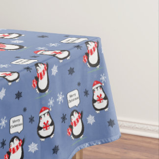 Merry Christmas Penguin blue Holiday Tablecloth