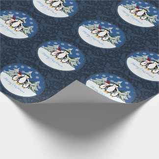 Merry Christmas Penguin Family Wrapping Paper